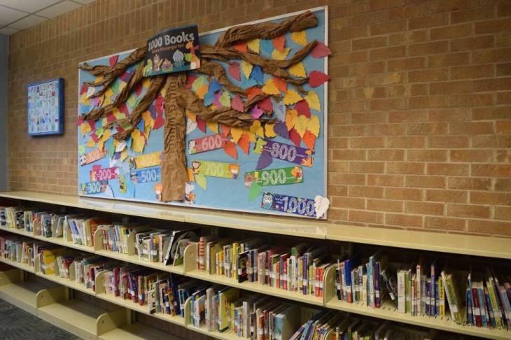 The 1000 books before kindergarten wall at Schimelpfenig library