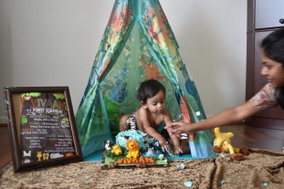 Mommy helping out at Jungle theme cake smash indoor outdoor
