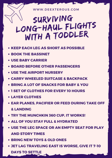 Surviving long-haul flights with a toddler.  KEEP EACH LEG AS SHORT AS POSSIBLE  BOOK THE BASSINET  USE BABY CARRIER BOARD BEFORE OTHER PASSENGERS USE THE AIRPORT NURSERY CARRY WHEELED SUITCASE & BACKPACK BRING A LOT OF SNACKS FOR BABY & YOU 1 SET OF CLOTHES FOR EVERY 10 HOURS LAYER CLOTHES EAR PLANES, PACIFIER OR FEED DURING TAKE OFF & LANDING TRY THE MUNCHKIN 360 CUP, IT WORKS! ALL OF YOU STAY FULL & HYDRATED USE THE LEG SPACE OR AN EMPTY SEAT FOR PLAY AND STORY TIMES BRING NEW TOYS & OLD ONES JET LAG TRAVELING EAST IS WORSE, GIVE IT 7-10 DAYS TO SETTLE