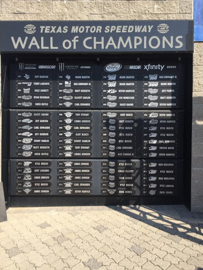 Wall of Champions at Texas Motor Speedway at No Limits, Fort Worth Texas