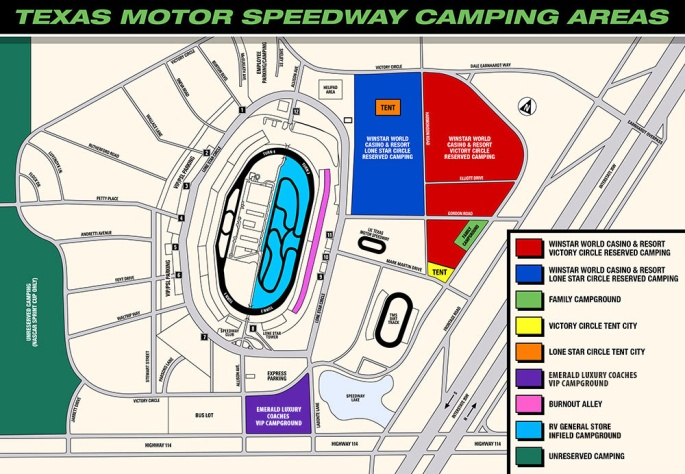 Camping at Texas Motor Speedway in No Limits, Fort Worth Texas